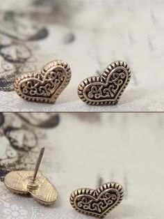 #VINTAGE #HEART #STUD #EARRINGS