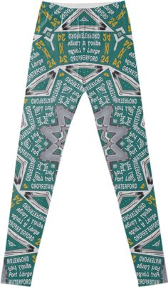 """""""IRISH ROAD SIGNS"""" LEGGINGS  BY DOVETAIL DESIGNS, from Print All Over Me.  Photos of road signs in Ireland, in Gaelic and English. Make yourself at home in Ireland, all year long. Get your Irish on, literally!"""