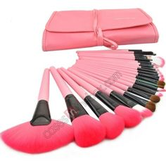 24 Pcs Professional Make Up Makeup Cosmetic Brush Set with Pink Leather Case - Pink - CasesInTheBox.com
