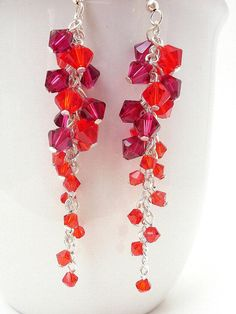 Red Swarovski Crystal Earrings