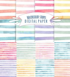 Set of 8 digital paper patterns with waterolor stripes for your personal designs. Watercolor stripes in differnt rainbow colors for scrapbooking. Free Digital Scrapbooking, Digital Scrapbook Paper, Digital Papers, Digital Paper Freebie, Scrapbooking Freebies, Digital Ink, Foundation Paper Piecing, Printable Scrapbook Paper, Printable Paper