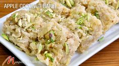 Apple Coconut Barfi is a delicious treat. This fudge-like barfi super easy to make. It& also vegan and gluten-free. The fruity taste makes for a great sweet snack without the guilt! Indian Dessert Recipes, Sweets Recipes, Indian Sweets, Indian Recipes, Indian Foods, Easy Gluten Free Desserts, Easy Desserts, Burfi Recipe, Eggless Recipes