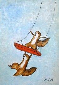 Items similar to Love to Swing - woodland animals, squirrels, tree swing PRINT, large print on Etsy Zentangle, Squirrel Art, Motifs Animal, You Draw, Children's Book Illustration, Whimsical Art, Woodland Animals, Cute Art, Illustrators