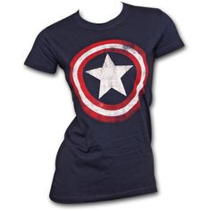Women's Captain America Shield Marvel Logo Costume T-Shirt ($26) ❤ liked on Polyvore featuring tops, t-shirts, shirts, avengers, blue, t shirts, blue shirt, cotton t shirt, blue short sleeve shirt and marvel shirts