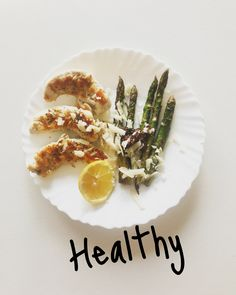 Eat clean. Healthy Food ideas. Chicken breast, asparagus , parmegiano and  Lemon .