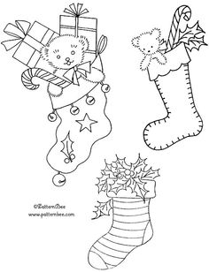 Several FREE Christmas stocking embroidery designs from www.patternbee.com