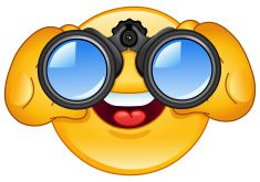 Binoculars emoticon vector art illustration