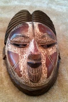 Hand Carved Wooden African Pongwe Queen Mask from Gabon