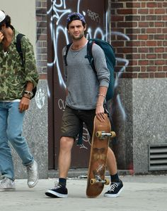 Penn Badgley the skater boy in NYC.