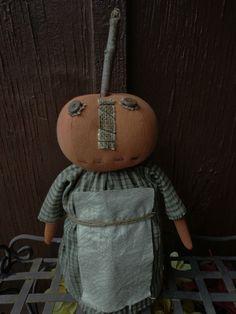 Primitive Pumpkin Head Stump Doll Shelf Sitter