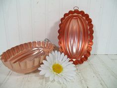 Mid Century Copper Color Aluminum Fluted Oval Mold Bowls Set of 2 - Vintage Metal KitchenWare Jello Pans- Retro Décor Collectible Accent Duo $17.00 by DivineOrders