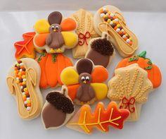 cute turkey cookies, leaf cookies, corn cookies, acorn cookies, pumpkin cookies So thankful for yummy Thanksgiving treats! Acorn Cookies, Turkey Cookies, Leaf Cookies, Fall Cookies, Iced Cookies, Pumpkin Cookies, Holiday Cookies, Cookies Et Biscuits, Sugar Cookies