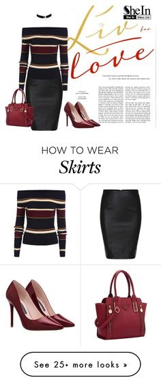 """""""SHEIN: Black Split Slim PU Skirt"""" by rmhodgdon on Polyvore featuring women's clothing, women's fashion, women, female, woman, misses, juniors and shein"""