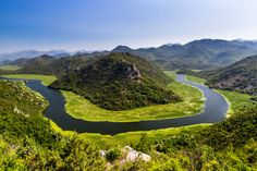 Buy Canyon Of River Crnojevica, Montenegro, Aerial View. One of the most famous views of Montenegro. Canyon of river Crnojevica, where it makes a turn over the green mountain. Montenegro Travel, Hiking Routes, Ocean Photography, Photography Tips, Seen, Beautiful Architecture, Aerial View, Places To See, Tourism