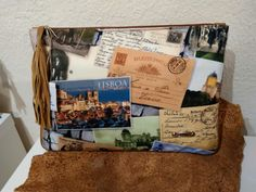 Cluch em tecido e napa made in Portugal