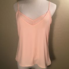 Peach Spaghetti Strap Chiffon Blouse Light chiffon top. Wear under Blazers or just with jeans! Dress up or down! Layered with like material. Paper Crane Tops Blouses
