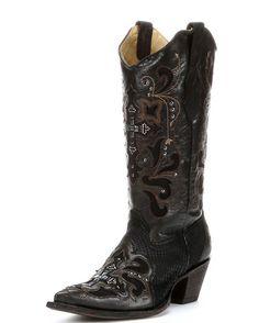 Women's Black And Grey Python Crystal Cross Boot