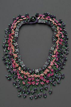 Miriam Haskell Vintage Wood and Venetian Glass Bead Collar