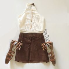 "🎈20% off!🎈Abercrombie & Fitch Leather Mini Skirt 🎈Reduced 20%!🎈Lace up brown leather skirt from Abercrombie and Fitch | 100% leather | 12"" long 