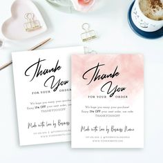 Business Thank You Card Template, Printable Thank you for your order card, Seller Thank you note, Customer thank you for purchase card Corjl Customer Thank You Note, Thank You For Order, Thank You For Purchasing, Printable Thank You Cards, Thank You Card Template, Thank You Stickers, Printable Labels, Stationery Templates, Invoice Template