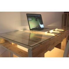 pallet table mesa escritorio con luz tarima