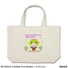 Shop SMILE MORE-Cute Monkey-Morocko Large Tote Bag created by Morocko. Cute Monkey, More Cute, Totes, Reusable Tote Bags, Birthday, Holiday, Fun, Gifts, Collection