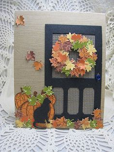 Autum Screen Door and Wreath Thanksgiving Cards, Holiday Cards, Christmas Cards, Halloween Cards, Fall Halloween, Window Cards, Cat Cards, Marianne Design, Animal Cards