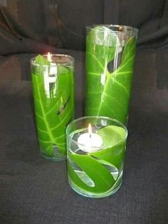 palm leaf in water. floating candle