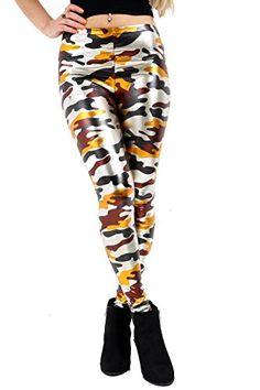 a7531414c0 Women's Army Camouflage multicolour Print Shiny Metallic Skinny Leggings  Pant ...