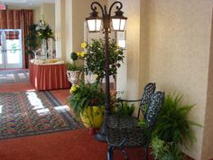 Over view of decorated hotel lobby for dinner party