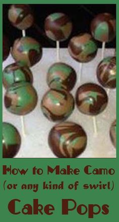 How to make Camo or any kind of swirl cake pops
