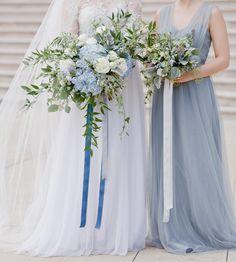 Romantic dusty blue bridal bouquet in soft wedding palette, by La Rue Floral