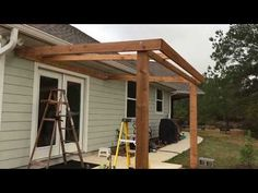 Porch Cover Construction DIY in 5 Days - Timelapse - Modern Design Porch Gazebo, Diy Gazebo, Diy Porch, Patio Roof, Backyard Patio, Porch Canopy Ideas, Screened Porches, Porch Ideas, Gazebo Plans
