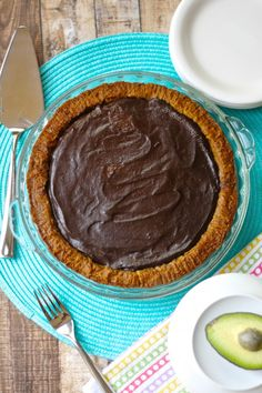 Chocolate Silk Pie with Avocado (gluten free Vegan dairy free) Decadent chocolate and avocado blended to a silky pie, no added fat or sugar. avocado, dairy free