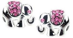 Adorable Silver Plated Elephant Stud Earrings with Pink Austrian Crystal Accents