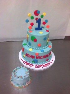 Love The Dots On Sticks Top Colorful Birthday Cake Boys 1st
