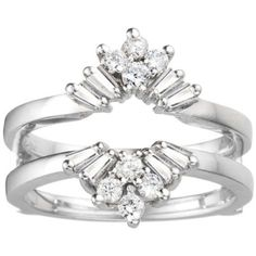 14k White Gold Diamonds- G to H Color (white) I1 Clarity Classic Wedding Ring Guard . $1199.00