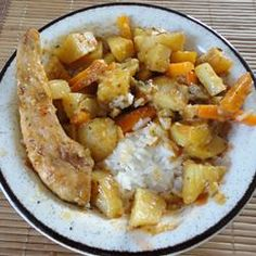 Rabbit is coated with seasoned flour, browned, then baked in mushroom sauce with carrots and potatoes. Klm Note: cut up some bacon and shallot and cooked first. Browned rabbit in bacon grease.