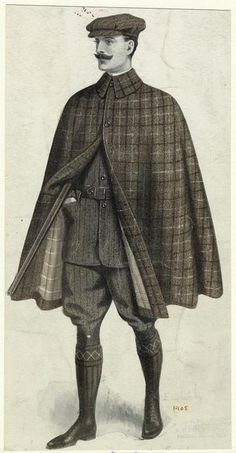 """This picture from the Mid-Manhattan Picture Collection is titled """"English man wearing a cape,"""""""