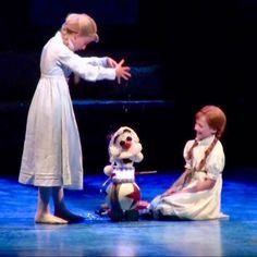 Frozen On Broadway, Frozen Musical, Musical Film, Musical Theatre, Anna Frozen Costume, Olaf Costume, Anna Costume, Broadway Costumes, Theatre Costumes