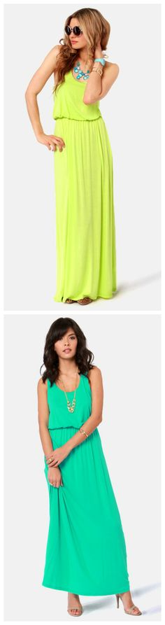 Green Thumb Maxi Dresses via lulus.com #lulusrocktheroad in love with the yellow dress and necklace . It's in my basket lol