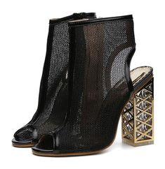 New Golden Bling Gladiator Peep Toe Zip Shoes Clear Chunky Pumps Sandals. Black Gladiator Sandals, Open Toe Sandals, Peep Toe Pumps, Pumps Heels, Gold Chunky Heels, Chunky Sandals, Transparent Heels, Wrap Heels, Womens High Heels