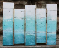 Ombre Sea Scape Original Plank Painting Wall Art for the Beach House / Nautical Artwork on Etsy, $85.00