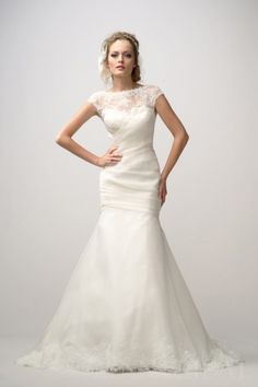 Draped Trumpet Cap Sleeves Silk Organza Vintage Wedding Dress
