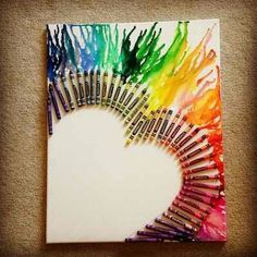 Melt crayons onto a canvas to get this effect, any shape, very cute!