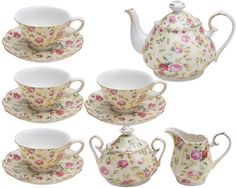 11 Piece Rose Chintz Cottage Tea Set