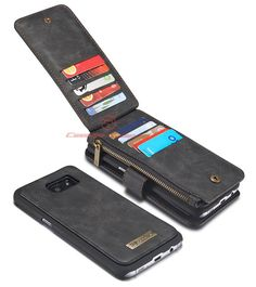 CaseMe 007 Samsung Galaxy S7 Edge Zipper Wallet Detachable 2 in 1 Flip Case Black