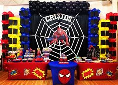 75 Blue and Red Party Themes Ideas - Spark Love Spider Man Party, 6th Birthday Parties, Man Birthday, Birthday Party Decorations, Avenger Party, Spiderman Theme Party, Superhero Party, Red Party Themes, Balloons
