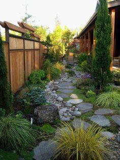 jardin paysagé, paravent bambou
