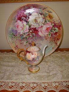 Antique Limoges France Porcelain Tea Pot Gorgeous Hand Painted Roses